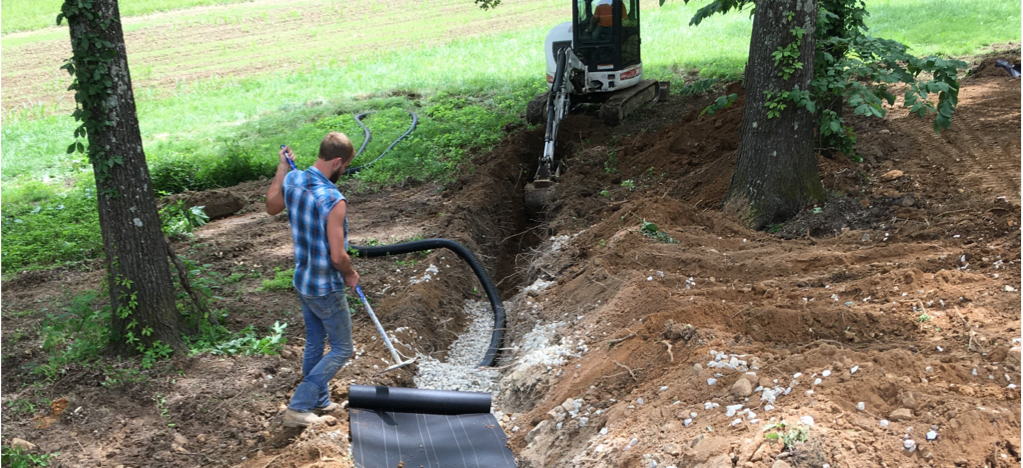 setting up septic work